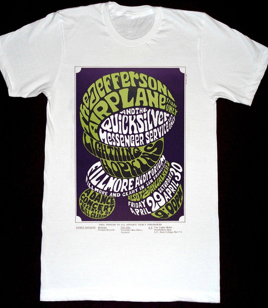 Джефферсон Самолет Quicksilver Messenger Service Футболка 17 Рубашка Концертный Плакат Стиль Круглый Стиль Футболка