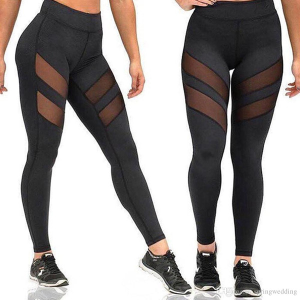 Four Seasons Sports Yoga Pantalones Leggings de mujer Calado Perspectiva Costura Deportes Fitness Correr Pantalones Sexy Leggings FS5783