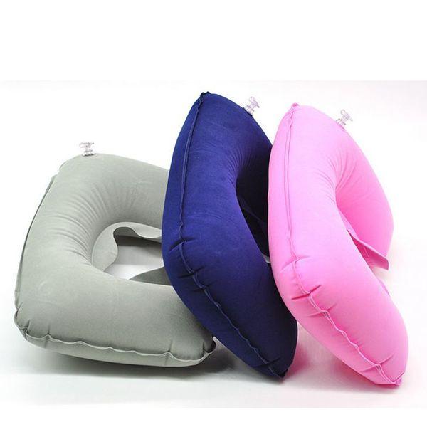 cushion floor 1Pcs Travel Air U-shaped inflatable pillow PVC Flocking health care Cervical Neck rest Soft Cushion 7zcx321
