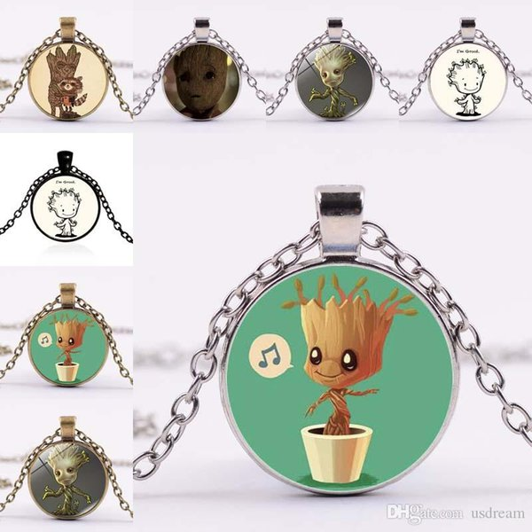 New Guardians of the Galaxy Groot Glass Cabochon Necklace Silver Bronze Black Plated Pendants for Women Children Jewelry 162269