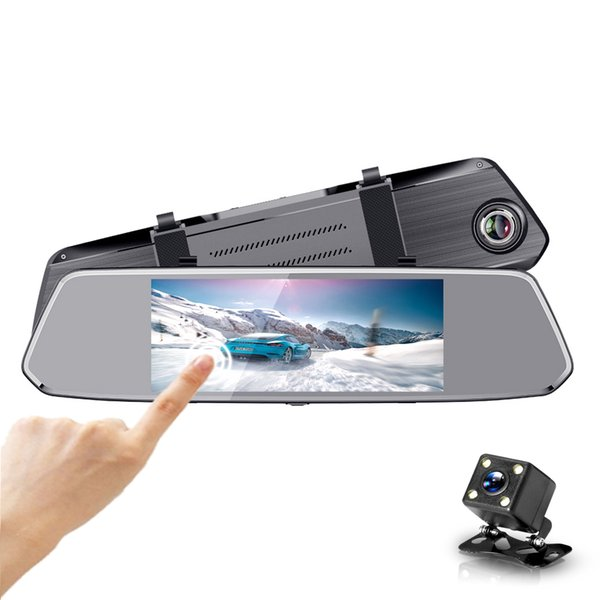 7 Inch 1080P Dash Cam Dual Lens Touch Screen Rearview Mirror Video Recorder Parking Monitor Car DVR G sensor Night Vision