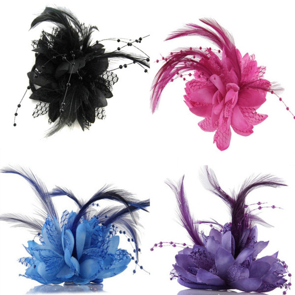 Hot Women Ladies Flower Feather Bead Corsage Hair Clips Fascinator Bridal Hairband Brooch Pin
