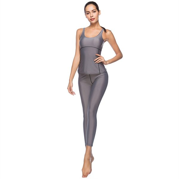 Spandex Running Women Solid Sleeveless Two Pieces Yoga Set Cloth Sports Wrap Crop Tank Top and High Waist Suit Tracksuit #966253