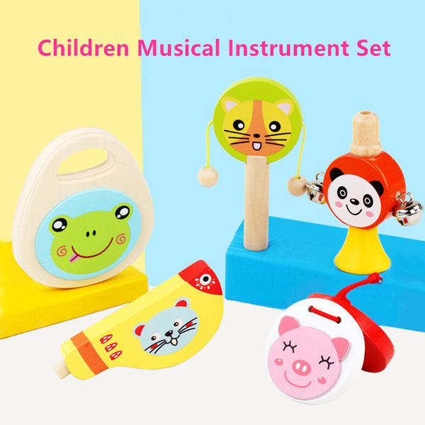 best selling 5 Pcs Set Baby Cartoon Wooden Musical Instrument Toys Rattle Drum Whistle Sand Board Horn Clapper Early Education Toy Kids Gifts