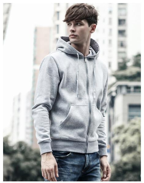 Blusas dos homens de Moda Casual Hoodies 2019 Mens Tops Chegada Nova Retro Top Cor Sólida Com Zíper dos homens Com Capuz Camisola Szie M-3XL