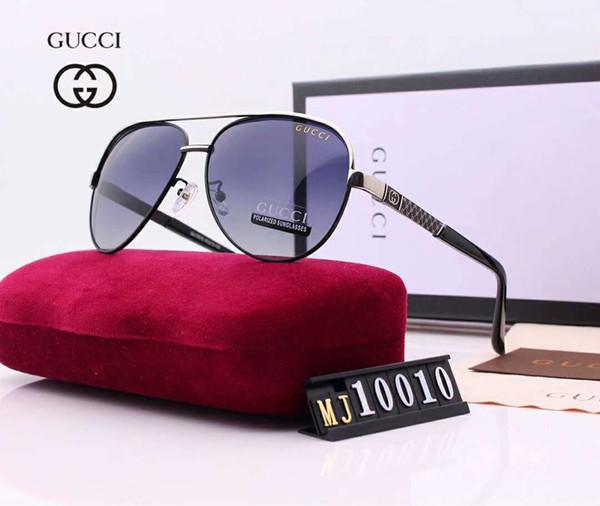 Designer de óculos de sol de luxo óculos de sol moda polarizada para homens de vidro UV400 marca elegante com caixa e logotipo G10010 qualidade superior