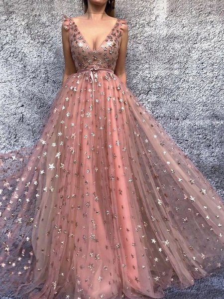 Sparkly Stars Deep V-Neck Tulle Glitter Prom Dresses A-Line Floor Length Christmas Party Dresses with Satin Sash Fraternity Formal Dress