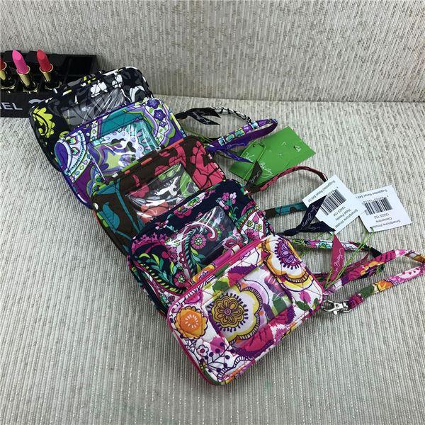 Brand Designer Purses VB Wallets Zip ID Case Floral Handbags with Lanyard Credit Cards Holder Slots Retro Pastoral Mini Coin Bags C72707