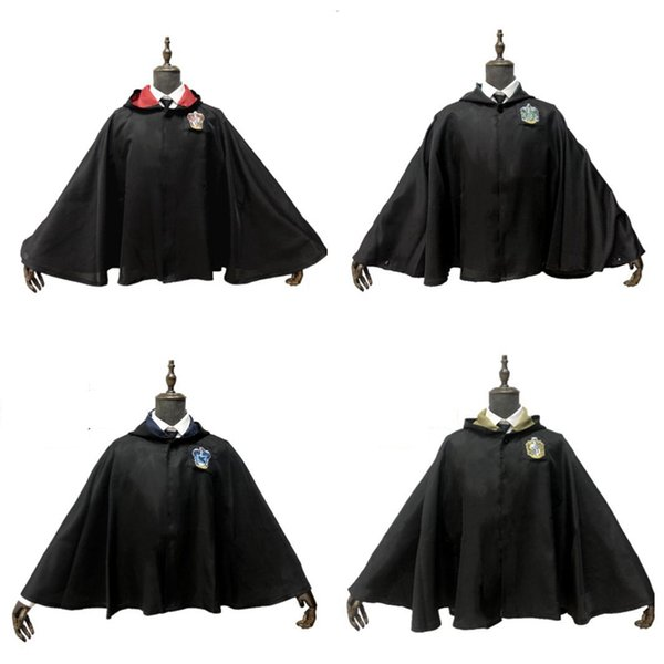 Harry Potter Cloak Cosplay Costume Kids Adult Harry Potter Robe Cloak Hogwarts Hufflepuff Gryffindor Slytherin Ravenclaw Robe HHA1020