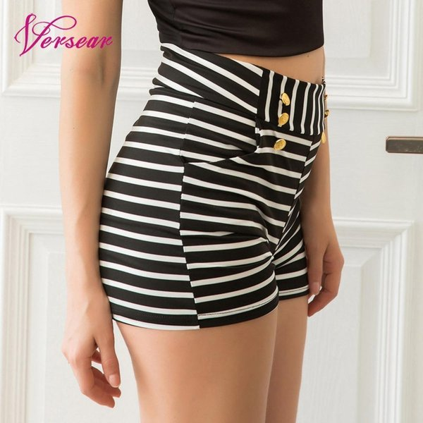 Versear Womens Shorts Black White Striped High Waist Korean Style Pocket Button Decorated Casual Home Shorts Woman Summer Nice