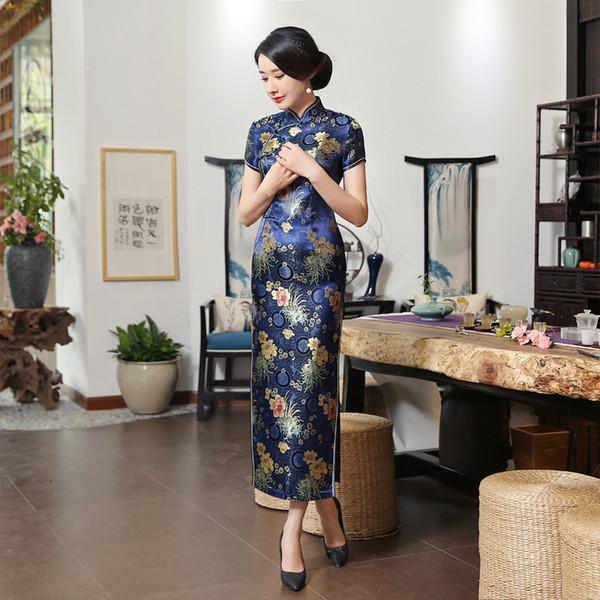 2019 donne blu navy in raso Cheongsam pulsante fatto a mano vintage signora Qipao manica corta novità abito lungo S-3XL