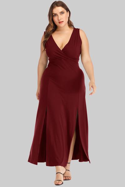 2019 large hot style dress deep V sleeveless slit dress, large size dress for European and American women