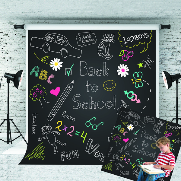 top popular Dream 5x7ft Back to School Backdrop Cartoon Pattern Blackboard Photography Background for Children School Theme Shoot Studio Prop 1.5x2.2m 2019