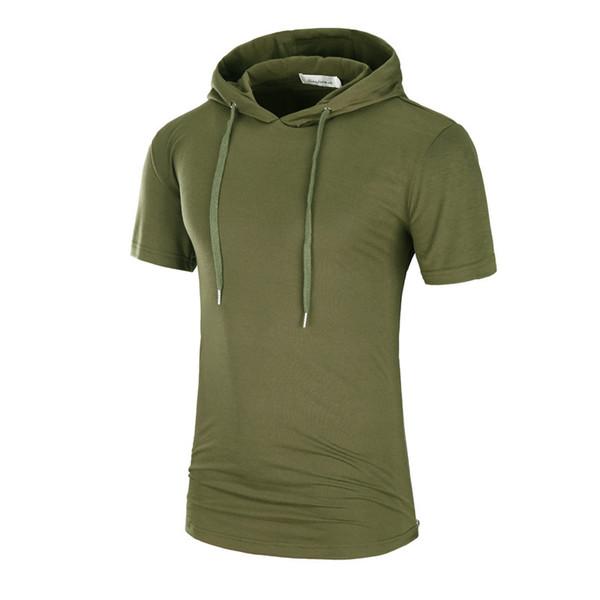 Men's Camouflage Hoodies T-shirt Short Sleeve Oversize Tees Men's Hip-hop Sweatshirt Brand Drwastring Hooded T Shirt