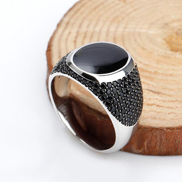 925 Sterling Silver Black Esmalte Anéis com Preto Cubic Zirconia Pedras Único Anel Do Vintage para Mulheres Dos Homens Unisex Moda Jóias