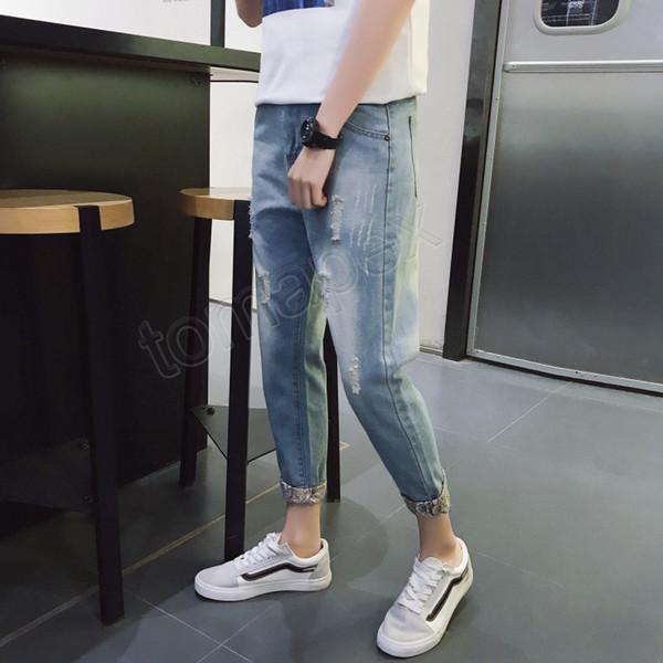 2019 verano nuevos pantalones vaqueros para hombres, tendencia de la moda, agujero, nueve pantalones, pantalones delgados para hombres, versión coreana de la explosión