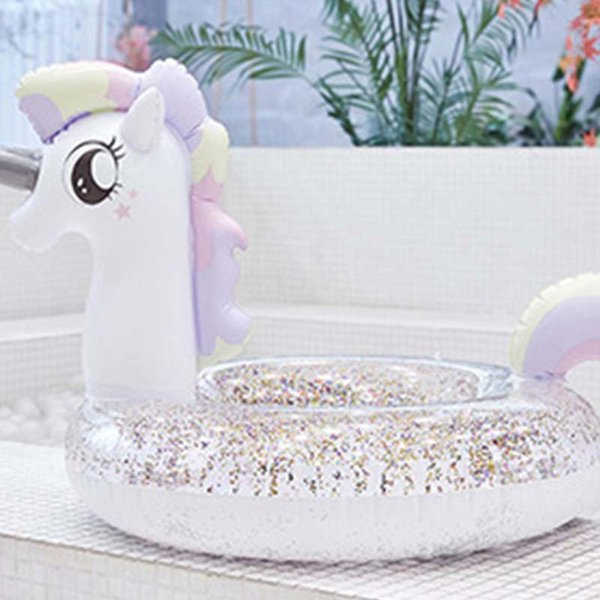 Inflatable Life Buoy Transparent Flamingo Unicorn Peacock Princess Horse Glitter Swimming Ring Summer Pool Floats Tube For Kids Adult