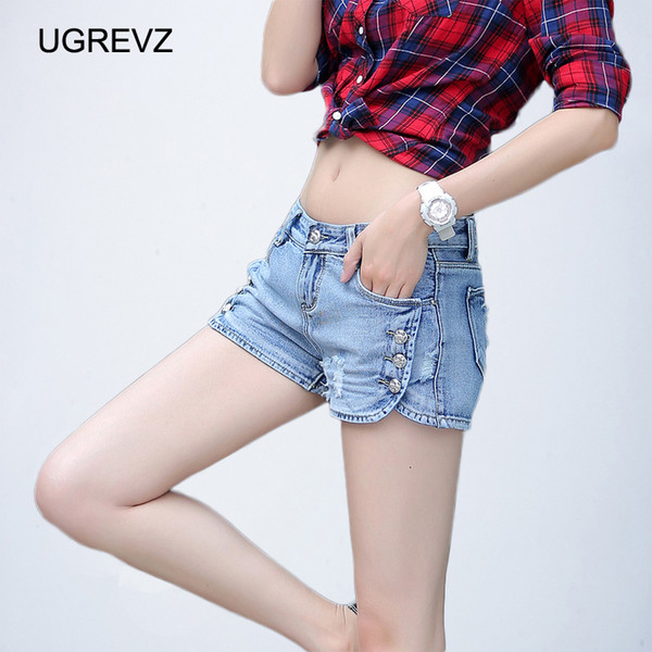 2019Womens Summer Ripped Denim Shorts Fashion Skinny Sexy Jeans Shorts Size 26/32 Female Cowboy Hole Feminino