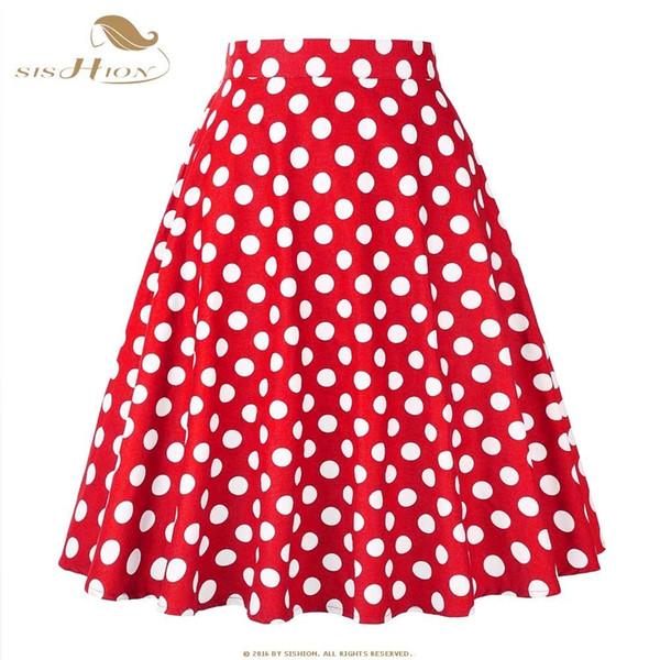 Sishion Women Skirt Blue Red Black White Polka Dot High Waist Vintage Skater Faldas Mujer Plus Size School Short Skirt Vd0020 Y190428