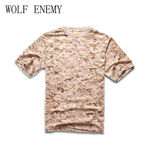 Мужчины Лето с коротким рукавом Хлопок Tactical T Shirt Открытый кемпинга Спорт футболки Digital Desert Camo