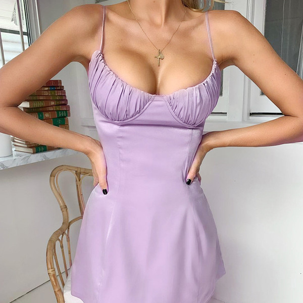 2019 Ladies Low Bust Pleated Back Criss Cross Bandage Dress Women Sexy Elegant Silk Bodycon Party Club Mini Vestidos Outfits