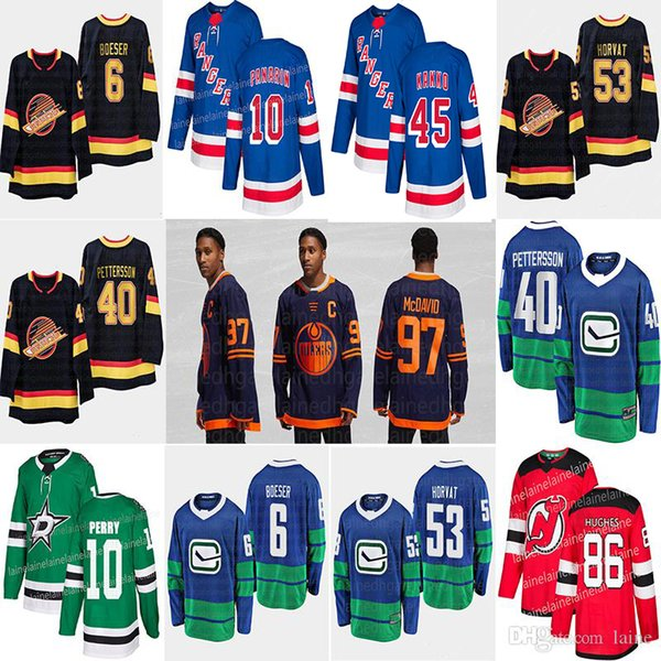 best selling 2019-2020 News Edmonton Oilers third 97 Connor McDavid New York Rangers 10 Artemi Panarin Vancouver Canucks 40 Pettersson hockey jerseys