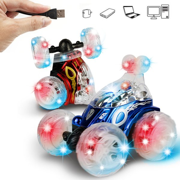 Robot Kids Electric Dancing Toy Music Gift RC Car 360 Degree Flip USB Rechargeable Flashing Light Stunt Tumbling Deformation