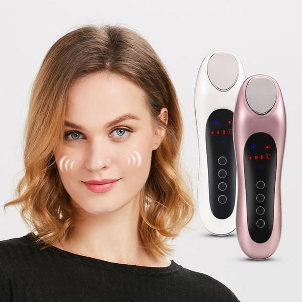 Tragbare Hand Ultraschall Ultraschall Vibration Gesichtsmassagegerät Haut Schönheit Instrument Heiße Kühlhaut Straffende Pflege Kostenloser Versand BV