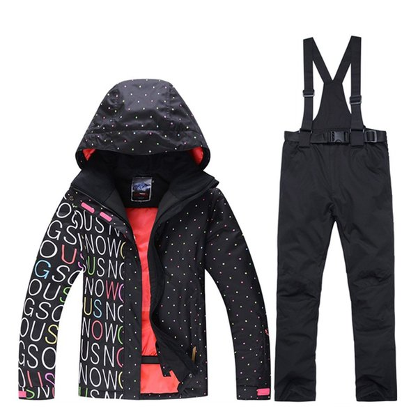 2019 new ski suit suit female windproof 10000 winter high quality ski jacket + suspenders pants women -30 degrees hot sale