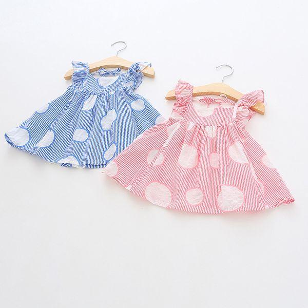 Ropa de diseñador para niños niñas camisa de verano Niñas volando sin mangas a rayas lunares camisa bebé niños cuello redondo 100% algodón camisa 3 colores