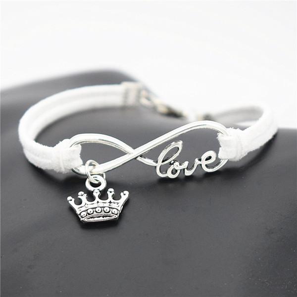 New Fashion Infinity Love King Crown Pendant Bracelet Men Women Charm Handmade White Leather Rope Chain Bangles Male Wrap Metal Jewelry Gift