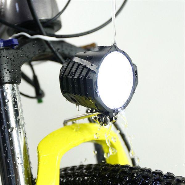Nueva bicicleta eléctrica luces LED bicicleta faro 12W 12V-80V impermeable luz delantera de la bicicleta 4 luces con cuerno para bicicleta