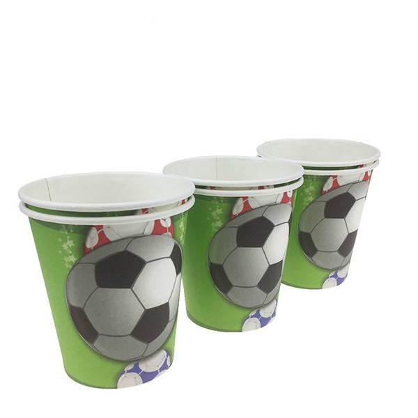 Fußball Wegwerfpapierschalen neue reizende Geburtstagsfeierdekorationen Kinder Baby Shower Supplies Party Favors 96pcs / lot