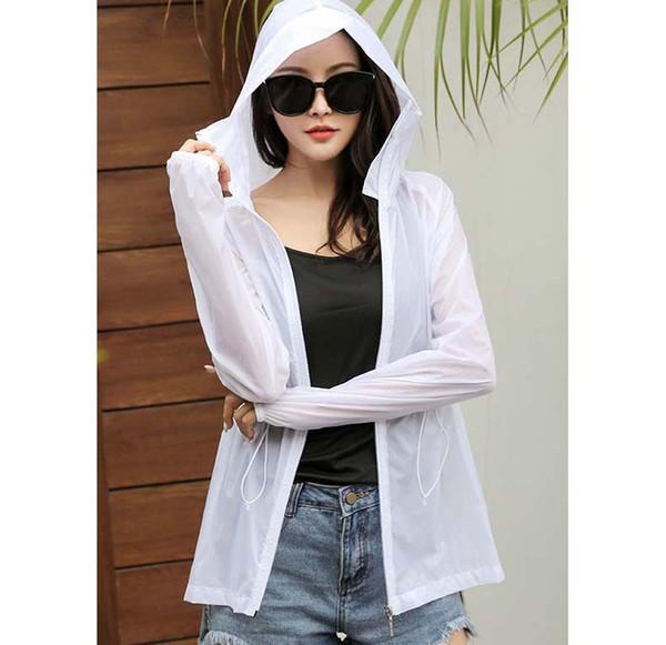 Abbigliamento Donna estate Suncreen 2019 New Long Sleeve Womens colore solido Beach Ourdoor Abbigliamento sportivo Cappotto con cappuccio formato asiatico S-2XL all'ingrosso
