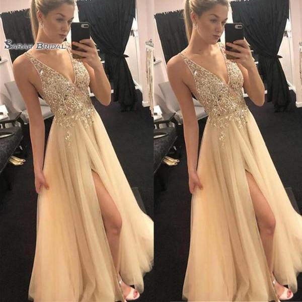 V-neck Appliques Gold Split Prom Dresses Vestidos De Festa Evening Wear In Stock Hot Sales High-end Occasion Dress