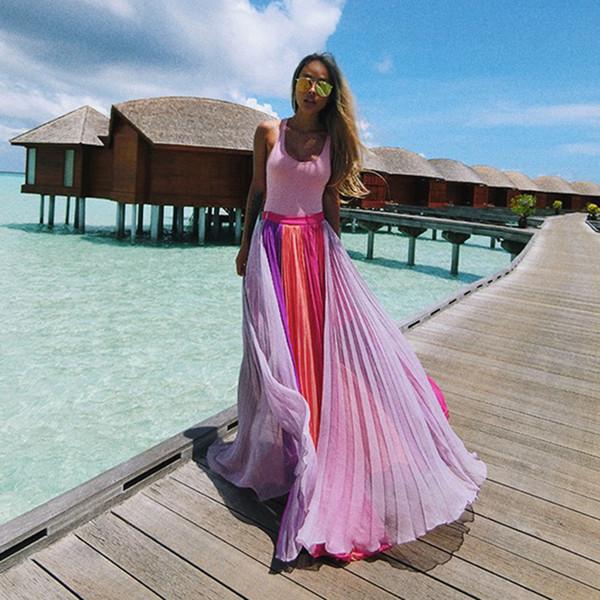 Terno-vestido 2019 Violeta Branco Rosa Cor Split Joint Saia Metade-corpo Saia Longa Chiffon