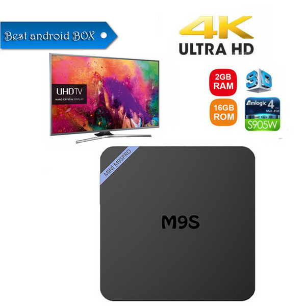 New M9S PRO Android 7.1 TV Box Amlogic S905W Quad-core 64 Bit 2GB 16GB 4K UHD WiFi & Lan VP9 DLNA H.265 Internet Media Streaming Player