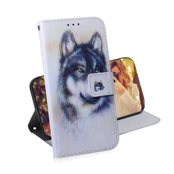 Carteira Capa Para Huawei P20 Lite cão Owl 2019 / NOVA 5i FILP tampa colorida padrão Lobo tigre leão Com Slot para cartão Projeto
