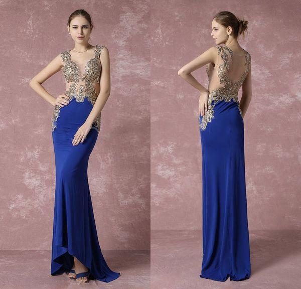 Con cuentas de oro una línea de vestidos de baile azul real espalda abierta Girls Pageant Vestidos hasta el suelo mujeres ropa de fiesta formal