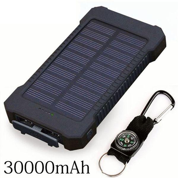 Nouvelle banque d'alimentation solaire 30000mAh étanche Chargeur solaire 2 ports USB Chargeur externe Powerbank pour Xiaomi Smartphone avec lumière LED