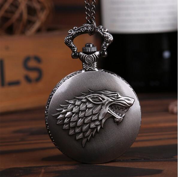 2017 Vintage Fashion Punk Game Of Thrones Pocket Watch Necklace Gothic Movie House Of Stark Black Wolf Game Jewelry C19041203