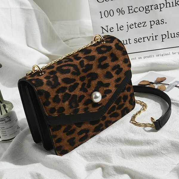 Factory wholesale brand women hand bag port wind Pearl decoration Chain bag fashion contrast leather shoulder bag fashion Leopard Handbag
