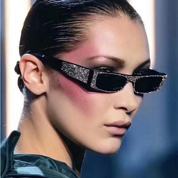 [EL Malus] Little Small Thin Square UV400 Sunglasses Women Simulated Diamond Red Yellow Silver Lens Mirror Sun Glasses Female SG073