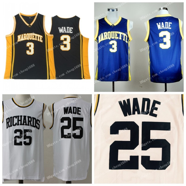 NCAA Marquette Golden Eagles #3 Wade Jersey blue Black College Basketball #25 Wade Richards High School Stitched Dwyane White Jerseys