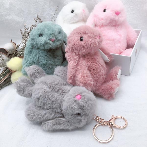 Новое прибытие Симпатичные мягкие пушистые Кролик фаршированный Плюшевые животных Кролик Игрушка Кукла способа для Baby Girl Kid подарков животных Кукла брелок
