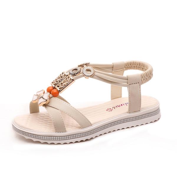 Yeni Geldi Yeni Kadın Çin Sandalet Flats Ayak Bileği Kayışı Ayakkabı Bayan Yaz Sandal Flip Flop Sandale Femmes Kırmızı Sandal
