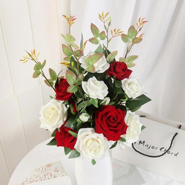2019 3 Heads Vase Decor Rose Diy Artificial Simulation Fake Flower Silk And  Plastic Home Wedding Christmas Decoration Artificial Plants For Decor From