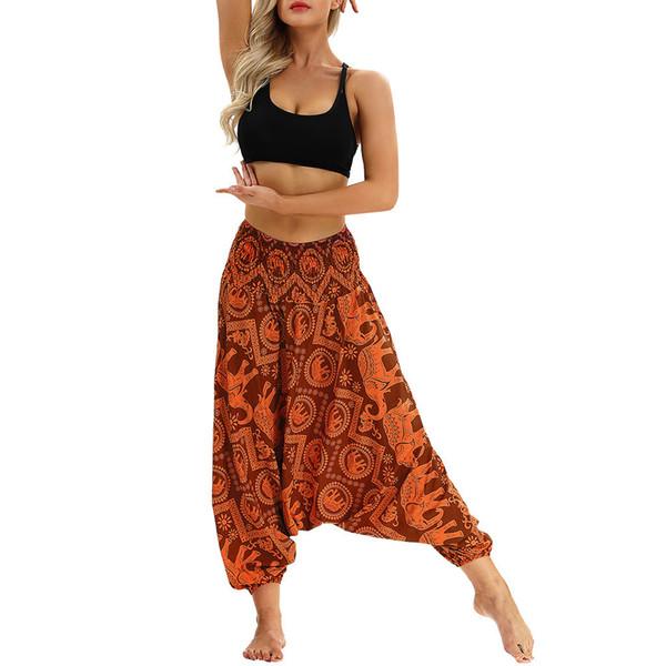 Toptan-Men Kadınlar Casual Bohem Gevşek Yoga Seyahat Lounge Festival Beach Baskı pantolonları tayt spor kadın spor