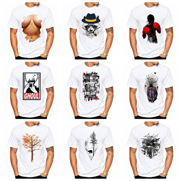 New Fashion Mens Womens T-Shirts 3D Funny T shirt Animal stampato Tee Hip Hop manica corta bianco Top