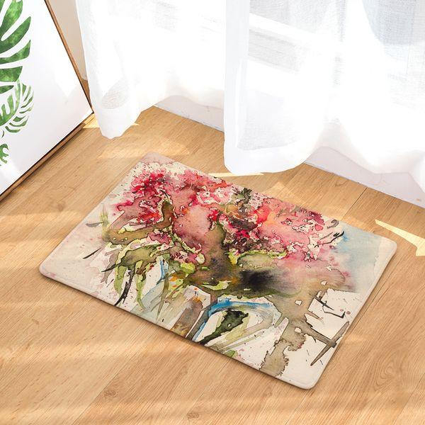 Cross-border law Laiwu 3d printing carpet Oil painting flower bedroom home living room carpet cartoon printing mats mats custom